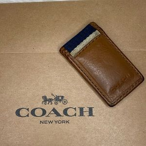 Coach Brown Leather Magnetic Money Clip